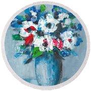 Flowers In Blue Vase Round Beach Towel