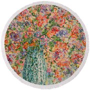 Flowers In Crystal Vase. Round Beach Towel