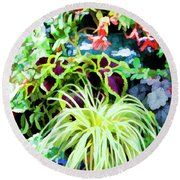 Flowers In Garden 3 Round Beach Towel