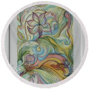Flowers In Motion Round Beach Towel