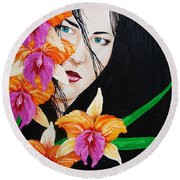 Flowers In My Garden Round Beach Towel