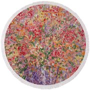 Flowers In Purple Vase. Round Beach Towel