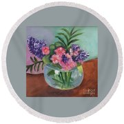Flowers In Round Glass Vase Round Beach Towel