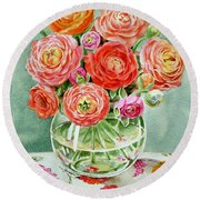 Flowers In The Glass Vase Round Beach Towel