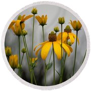 Flowers In The Rain Round Beach Towel