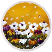 Flowers In The Sunset  Round Beach Towel