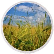 Flowers In The Wheat Round Beach Towel