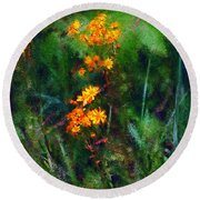 Flowers In The Woods At The Haciendia Round Beach Towel
