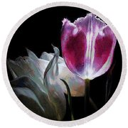Flowers Lit Round Beach Towel