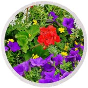 Flowers Of Bethany Beach - Petunias Round Beach Towel