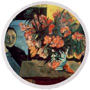 Flowers Of France Round Beach Towel