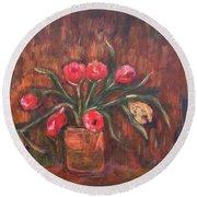 Flowers Of Pink In Vase Round Beach Towel