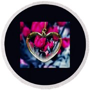 Flowers Of The Heart Round Beach Towel
