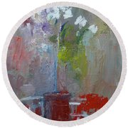 Flowers On A Table Round Beach Towel