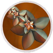 Flowers On Bronze Round Beach Towel