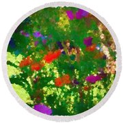 Flowers On Display As Abstract Art Round Beach Towel