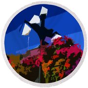 Flowers On Lamppost Round Beach Towel