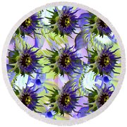 Flowers On The Wall Round Beach Towel