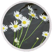Flowers On The Water Round Beach Towel