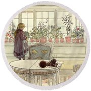 Flowers On The Windowsill Round Beach Towel by Carl Larsson