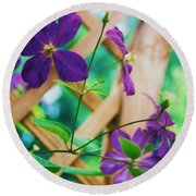 Flowers Purple Round Beach Towel