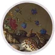 Flowers, Shells And Insects On A Stone Ledge Round Beach Towel
