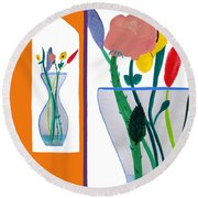 Flowers Small And Big Round Beach Towel