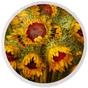 Flowers - Sunflowers - You're My Only Sunshine Round Beach Towel