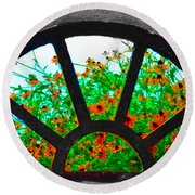 Flowers Through Basement Window At Monticello Round Beach Towel