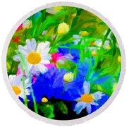 Flowers Two Round Beach Towel
