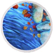 Flowing Fall Round Beach Towel