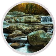 Flowing River On Greenbrier Cove Road Smoky Mountains National P Round Beach Towel