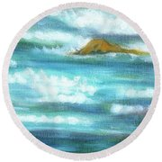 Flowing River With Briliant Sun Reflections And Stone, Closeup Painting Detail. Round Beach Towel