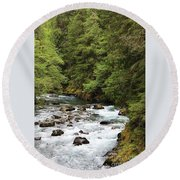 Flowing Through The Trees Round Beach Towel