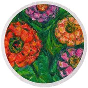 Flowing Zinnias Round Beach Towel