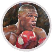 Floyd Mayweather Jr Round Beach Towel by Ylli Haruni
