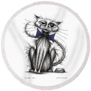 Fluffy Cat Round Beach Towel