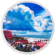 Fluffy Clouds Over Clearwater Beach Round Beach Towel