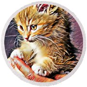 Fluffy Orange Kitten Round Beach Towel