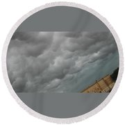 Fluffy Rain Clouds Round Beach Towel