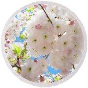 Fluffy White Pink Sunlit Tree Blossom Art Print Canvas Baslee Troutman Round Beach Towel