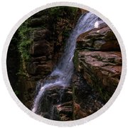Flume Gorge Waterfall Round Beach Towel
