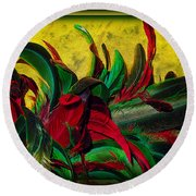 Flurry Of Feathers Round Beach Towel