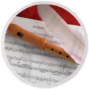 Flute And Feather Round Beach Towel by Carlos Caetano