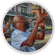 Flute Musician In New Orleans Round Beach Towel