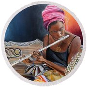 Flute Player Round Beach Towel