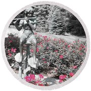 Flute Player - Two Toned Round Beach Towel