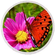 Fritillary Flutterby Round Beach Towel