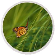 Fluttering Through The Summer Grass Round Beach Towel