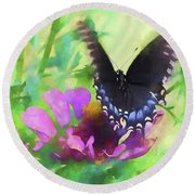 Fluttering Wings Of The Butterfly Round Beach Towel